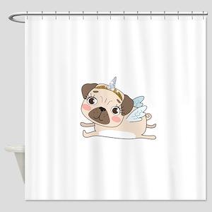 Unicorn Pug Shower Curtain