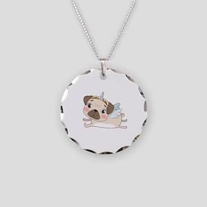 Unicorn Pug Necklace Circle Charm