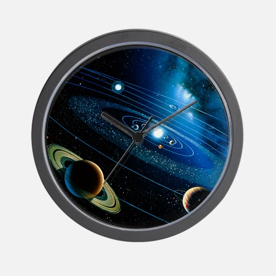 Artwork of the solar system - Wall Clock