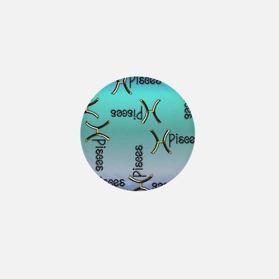 Blue Pisces, Sign of the Zodiac Mini Button