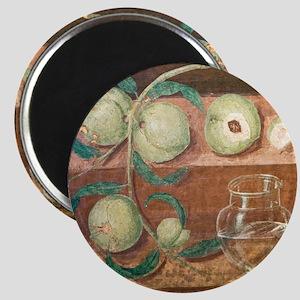 Peaches and a glass jug, Roman fresco - Magnet