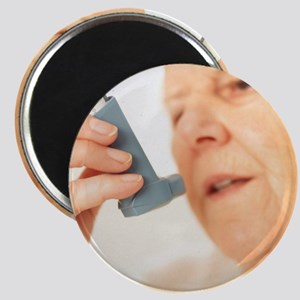 Woman using an inhaler - Magnet