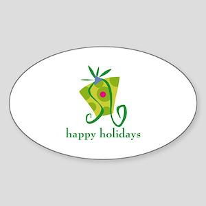 Happy Holidays Oval Sticker