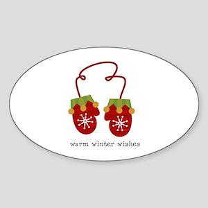 Warm Winter Wishes Oval Sticker