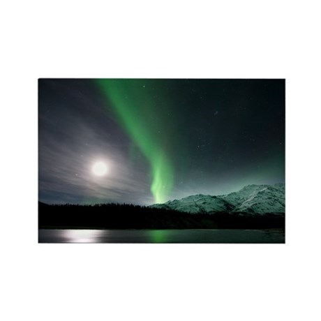 Aurora borealis and Moon - Rectangle Magnet