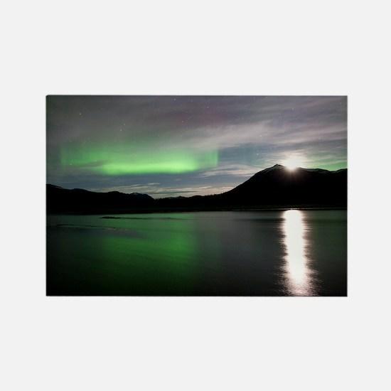 Aurora borealis and Moon - Rectangle Magnet