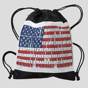 Political Protest American Flag Drawstring Bag