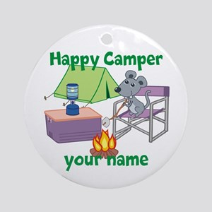 Custom Happy Camper Mouse Ornament (Round)