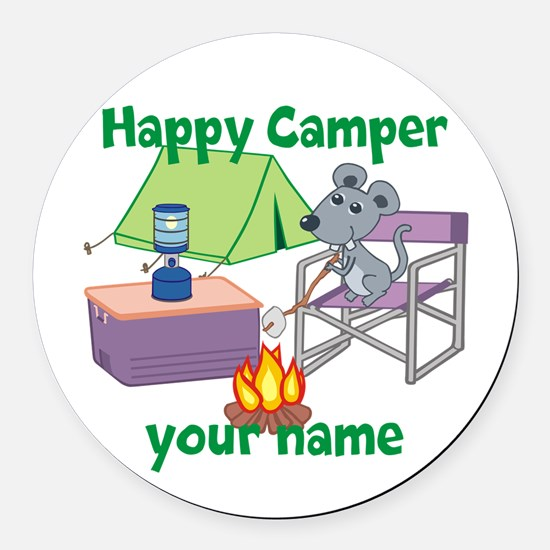 Custom Happy Camper Mouse Round Car Magnet