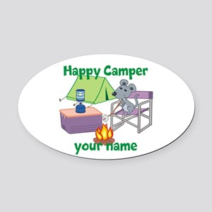 Custom Happy Camper Mouse Oval Car Magnet