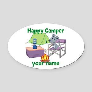 Custom Happy Camper Mouse Oval Car Magnet
