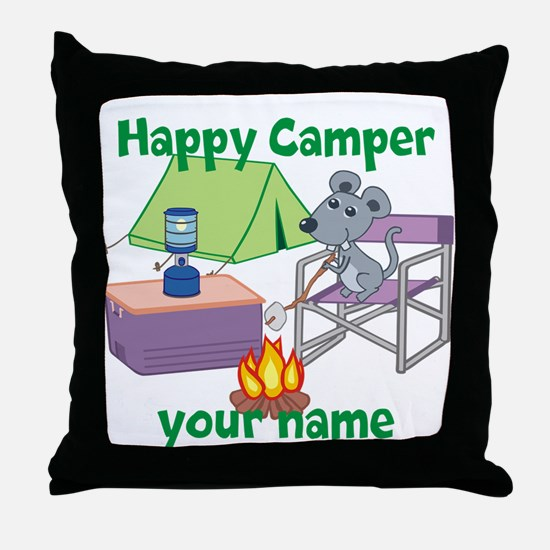 Custom Happy Camper Mouse Throw Pillow