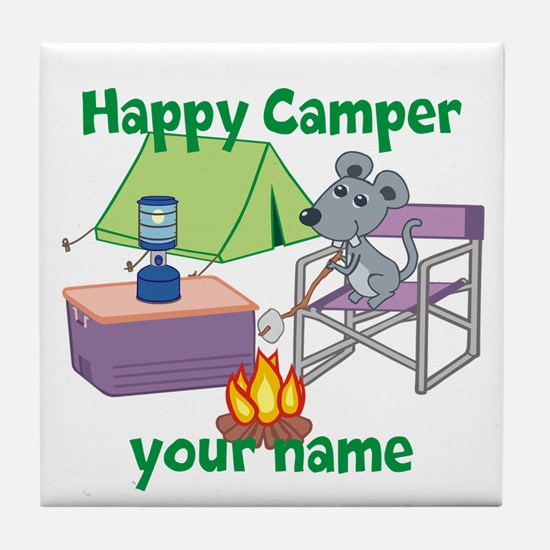 Custom Happy Camper Mouse Tile Coaster