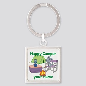 Custom Happy Camper Mouse Square Keychain