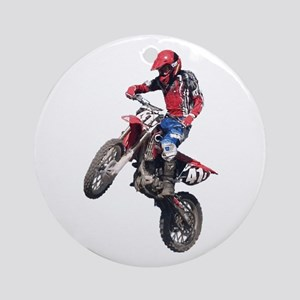 Red Dirt Bike Ornament (Round)