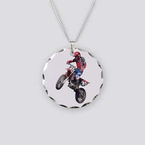 Red Dirt Bike Necklace Circle Charm