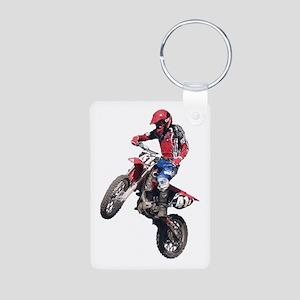 Red Dirt Bike Aluminum Photo Keychain