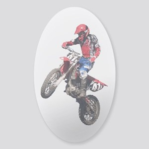 Red Dirt Bike Sticker (Oval)