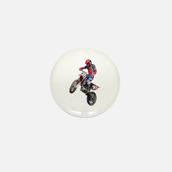 Red Dirt Bike Mini Button