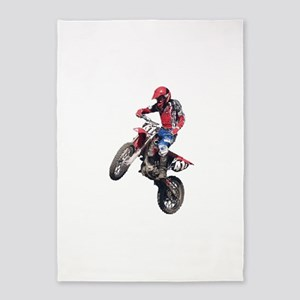 Red Dirt Bike 5'x7'Area Rug