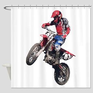Red Dirt Bike Shower Curtain