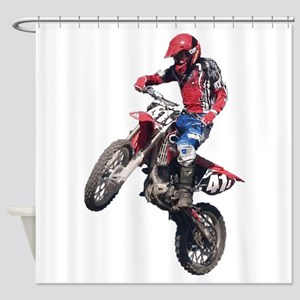 Red Dirt Bike Shower Curtain