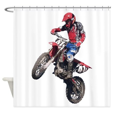 Red Dirt Bike Shower Curtain By Diaboliccreations
