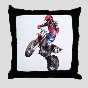 Red Dirt Bike Throw Pillow