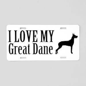 I Love My Great Dane Aluminum License Plate