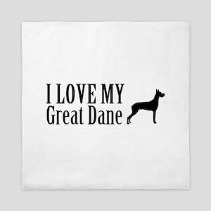 I Love My Great Dane Queen Duvet