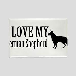 I Love my German Shepherd Rectangle Magnet