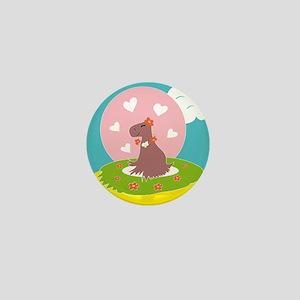 Capybara in Love Mini Button