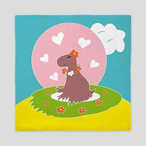 Capybara in Love Queen Duvet