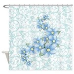 Baby Blue Flowers Shower Curtain