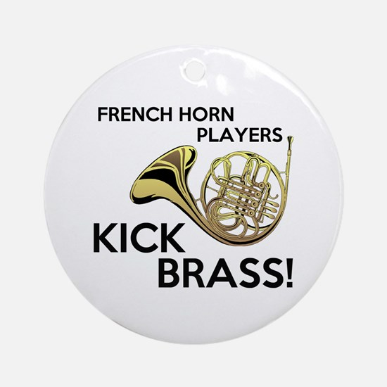 Horn Players Kick Brass Ornament (Round)