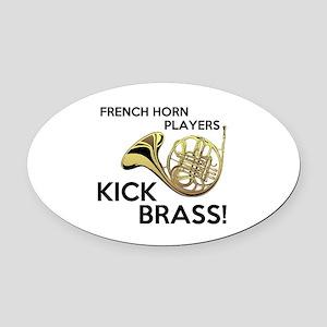 Horn Players Kick Brass Oval Car Magnet
