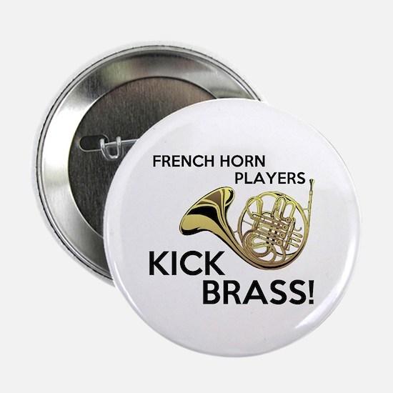 """Horn Players Kick Brass 2.25"""" Button"""