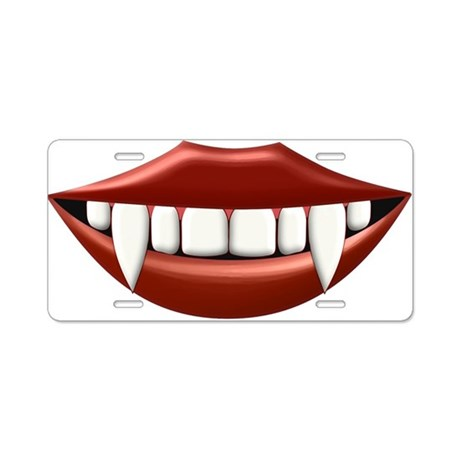 Vampire Teeth Sexy Mouth Aluminum License Plate