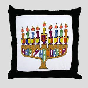 Happy Hanukkah Dreidel Menorah Throw Pillow