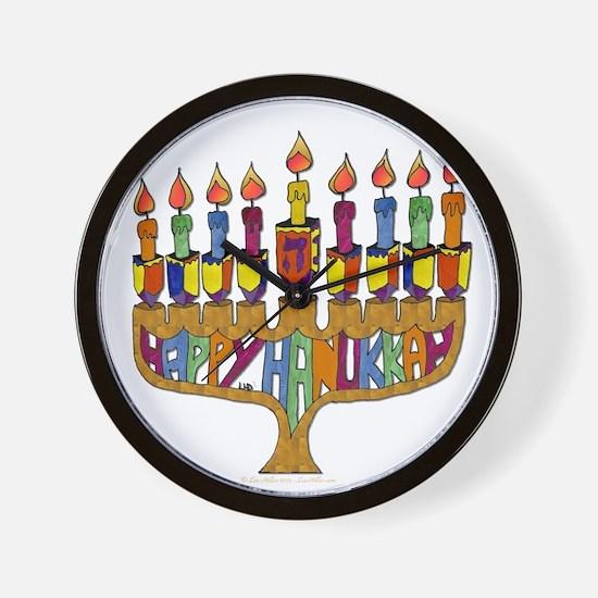 Happy Hanukkah Dreidel Menorah Wall Clock