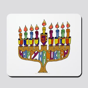 Happy Hanukkah Dreidel Menorah Mousepad