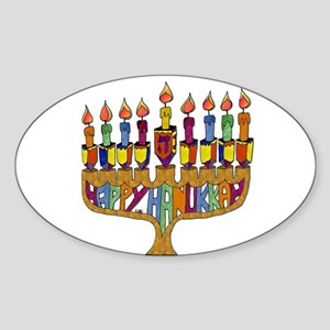 Happy Hanukkah Dreidel Menorah Sticker