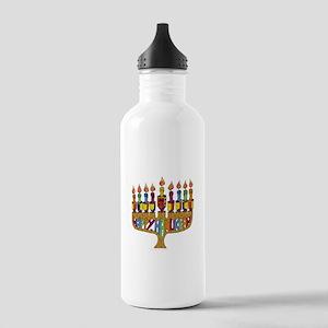 Happy Hanukkah Dreidel Menorah Water Bottle