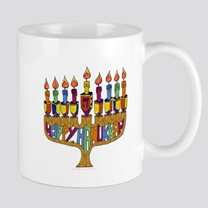 Happy Hanukkah Dreidel Menorah Mug