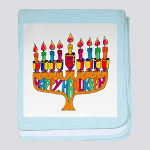 Happy Hanukkah Dreidel Menorah baby blanket