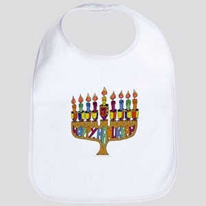 Happy Hanukkah Dreidel Menorah Bib