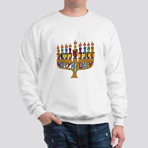 Happy Hanukkah Dreidel Menorah Sweatshirt