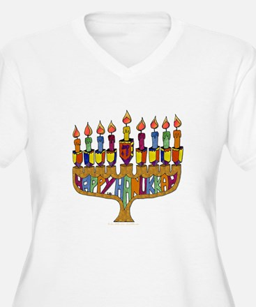 Happy Hanukkah Dreidel Menorah Plus Size T-Shirt