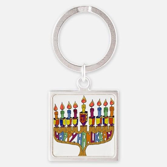 Happy Hanukkah Dreidel Menorah Square Keychain