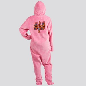 Happy Hanukkah Dreidel Menorah Footed Pajamas